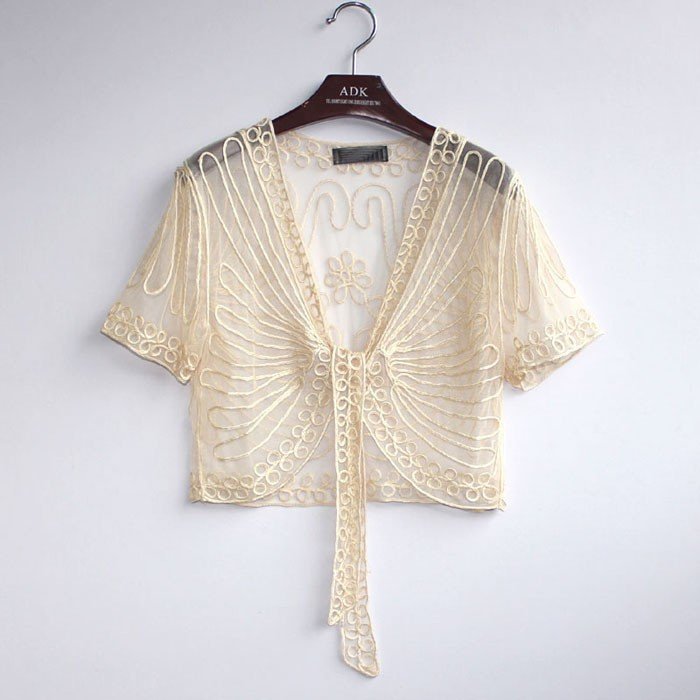 XS S M black white beige embroidered short sleeve tulle bolero ...