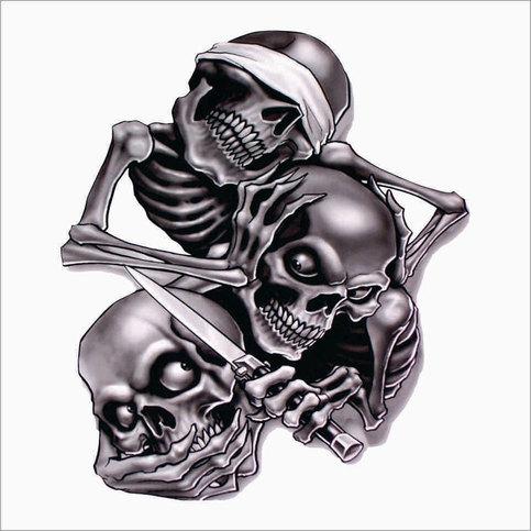 See No Evil Speak No Evil Hear No Evil Skeleton Vinyl Decal - Vinyl decals custompack of custom skull face vinyl decalsstickers thedecalking