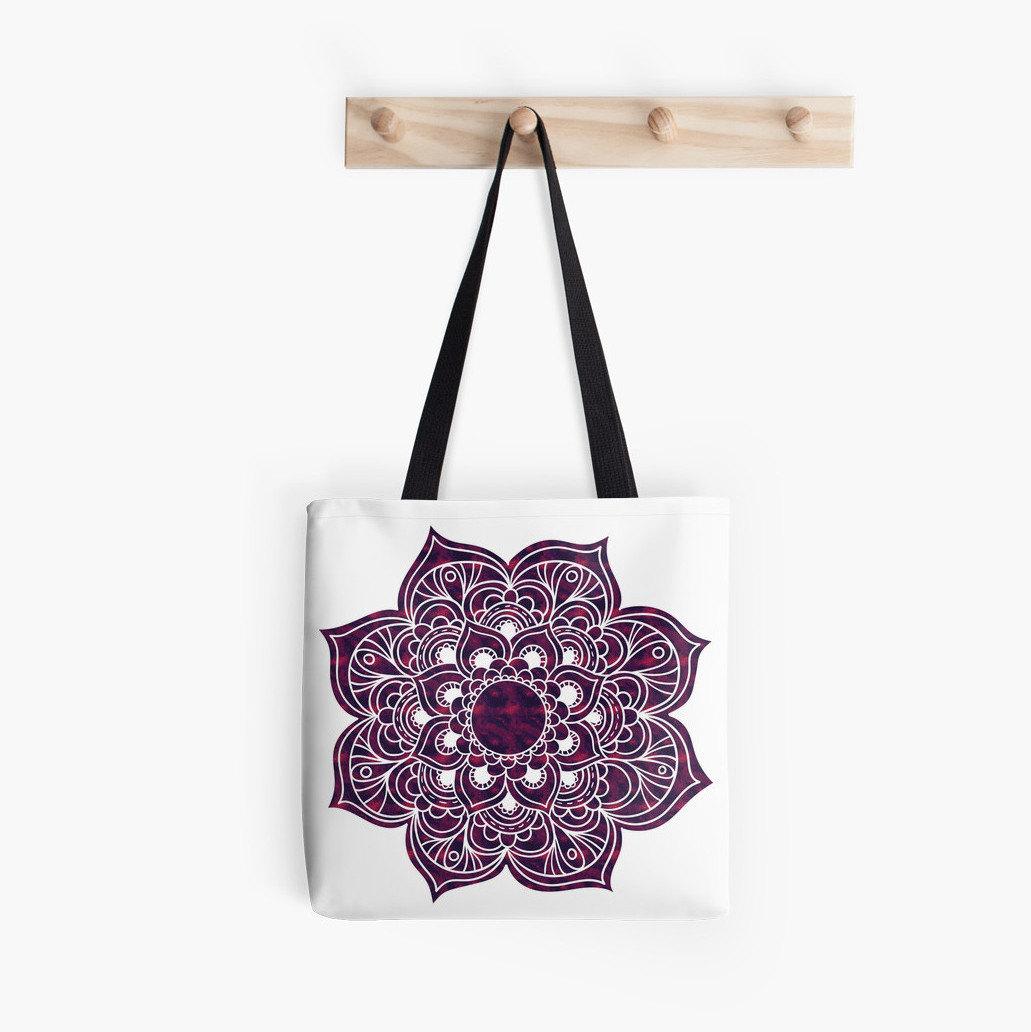 Canvas Tote Bag. Fabric Market Bag. Purple Mandala. Mystic ...