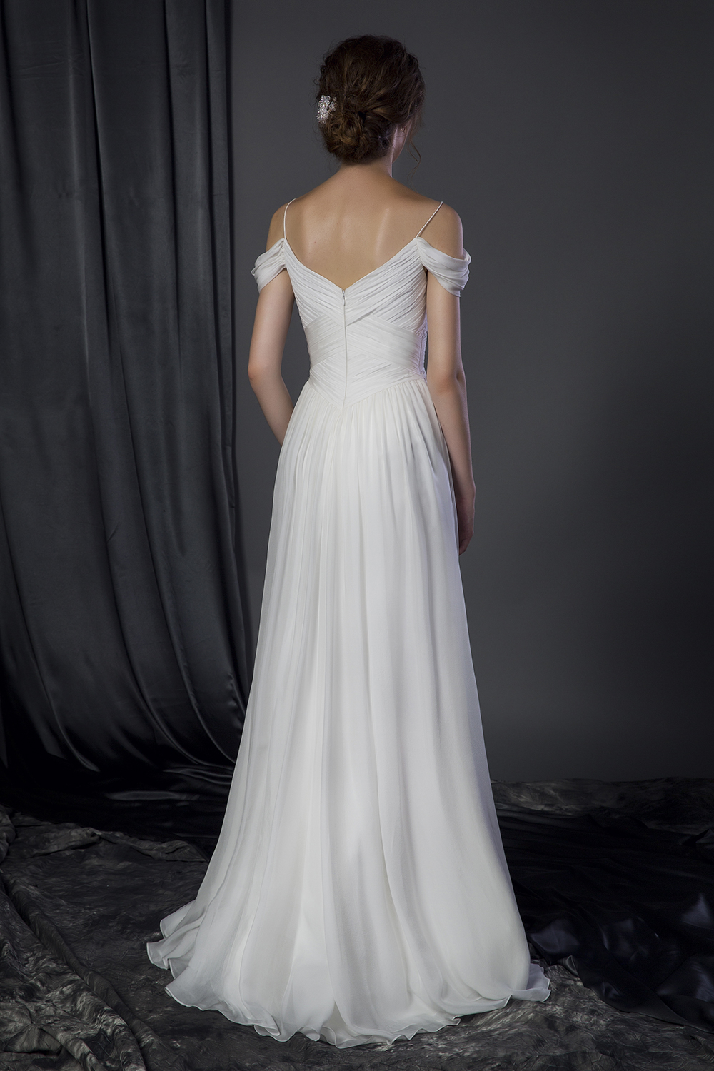 Plus Size Off The Shoulder Silk Chiffon Bridal Gown