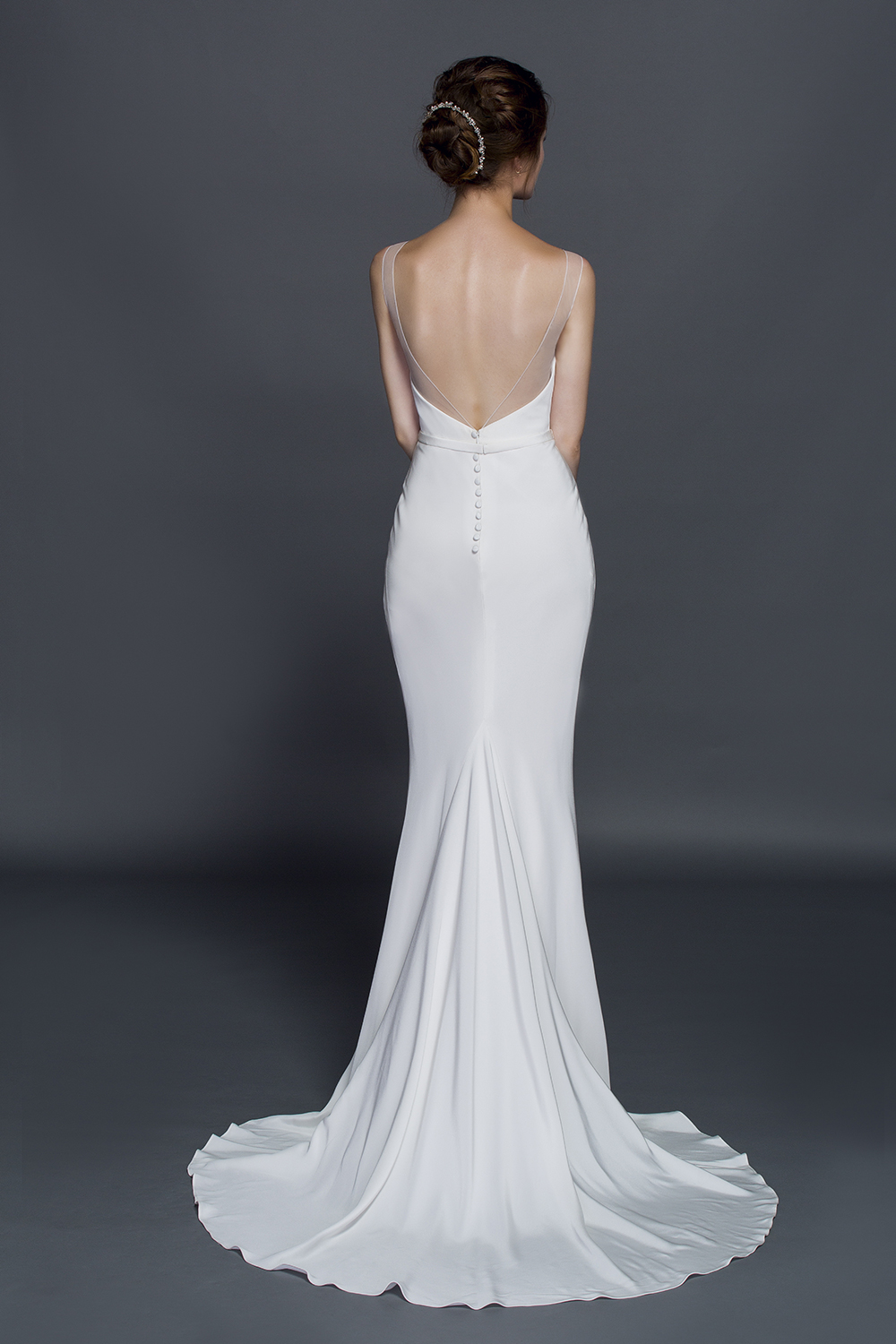 Plus Size Silk Crepe Wedding Gown With Sheer Illusion Neckline And