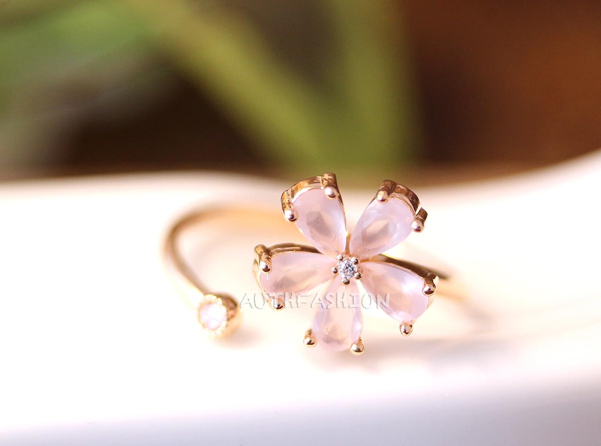Light pink stone flower ring adjustable open ring pink gold tone light pink stone flower ring adjustable open ring pink gold tone plated jewelry thumbnail 1 mightylinksfo