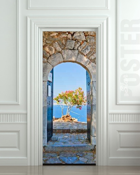 Wall door sticker greece health resort travel landscape for Door wall mural