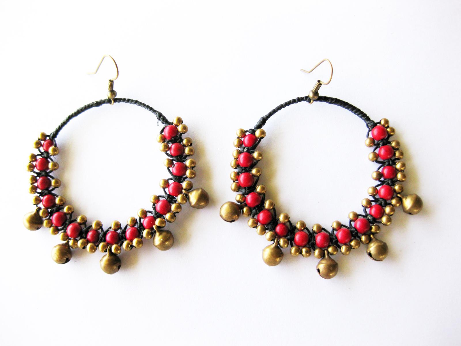 Boho Earrings Jingle Bells with Red bead stone Handmade Jewelry ...