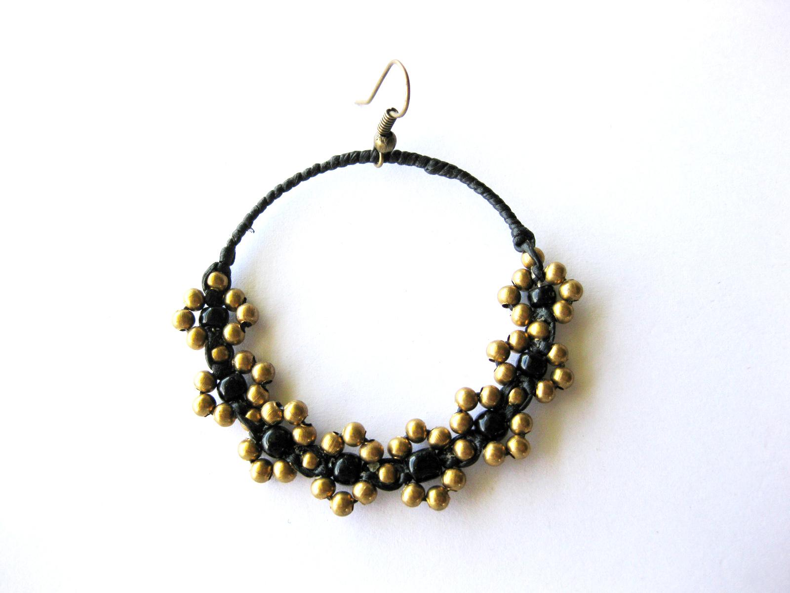 Handmade earrings Flower dangle hoops brass beaded with bead stone ...