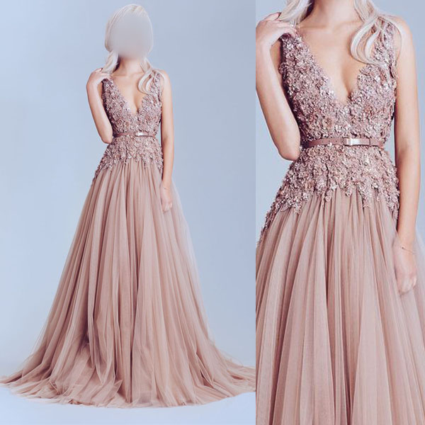 Dusty Pink Prom Dress Tulle Prom Dresses Off Shoulder Lace Prom
