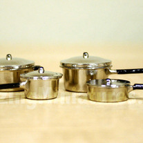 """Steel"" Pots & Pans, 8 Pcs Dollhouse Miniatures"