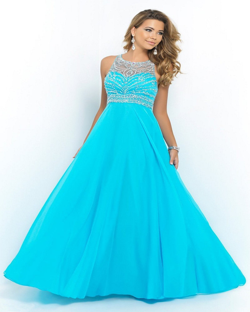 Ulass Elegant Royal Blue Chiffon A-Line Prom Dress Halter Bandage ...