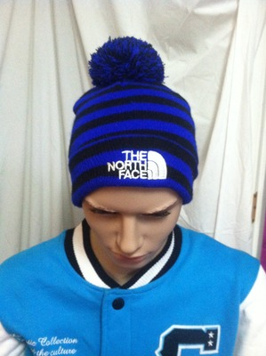 Men s Royal Blue and Black Striped The North Face Winter Hat Beanie with  Pom Pom 8fc2e47e09a