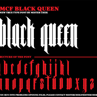 Black queen font by mister chek