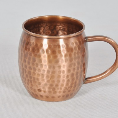 Antique hammered barrel shape pure copper moscow mule mug - Thumbnail 1