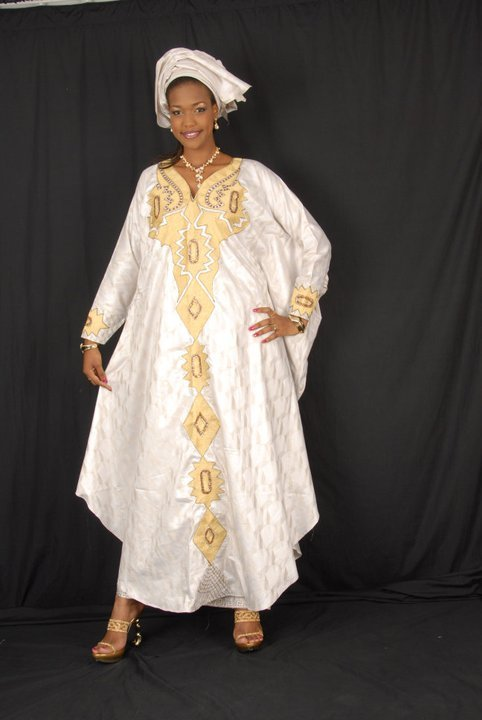 White african brocade grand boubou with gold embroidery