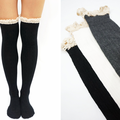 Comfy lace trim knit thigh high boot socks- black