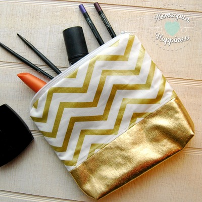 gold chevron - gold bottom bag
