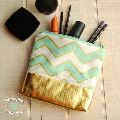 Mint and gold chevron - gold bottom bag