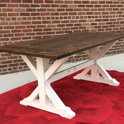 Awesome Reclaimed Wood Farmhouse Trestle Dining Table With Farmhouse Trestle  Dining Table