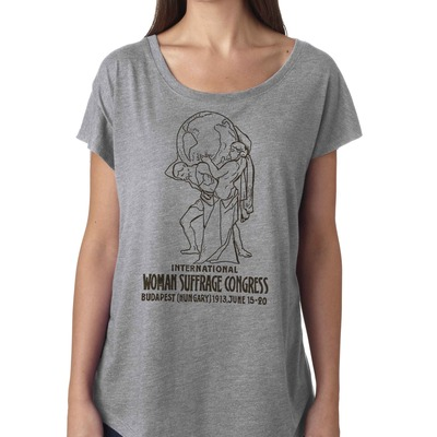"Feminist tshirt: historical ""international women's suffrage congress"" shirt from fourth wave feminist apparel (gray)"