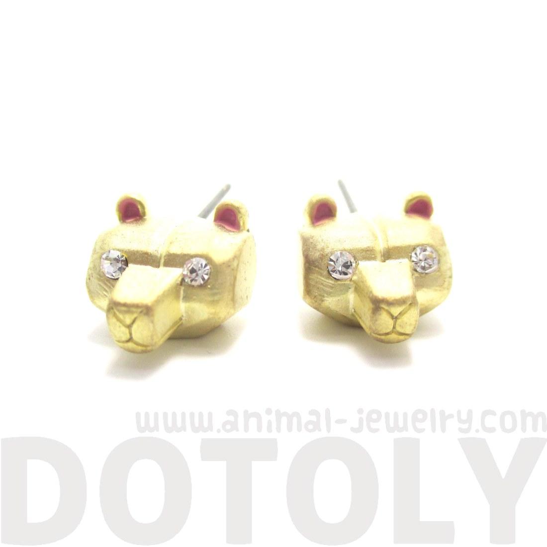 3D Super Cute Polar Bear Face Shaped Animal Stud Earrings in Gold ...
