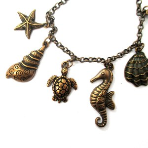 Sea Creatures Themed Seahorse Starfish Turtle Charm Bracelet in Bronze