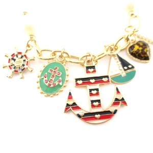 Nautical Themed Anchor Boat Helm Enamel Rhinestone Charm Bracelet