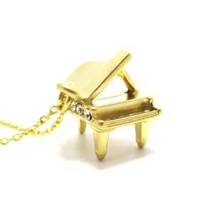 3D Miniature Grand Piano Music Themed Charm Necklace in Gold