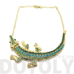 Large Crocodile Shaped Statement Rhinestone Necklace in Gold