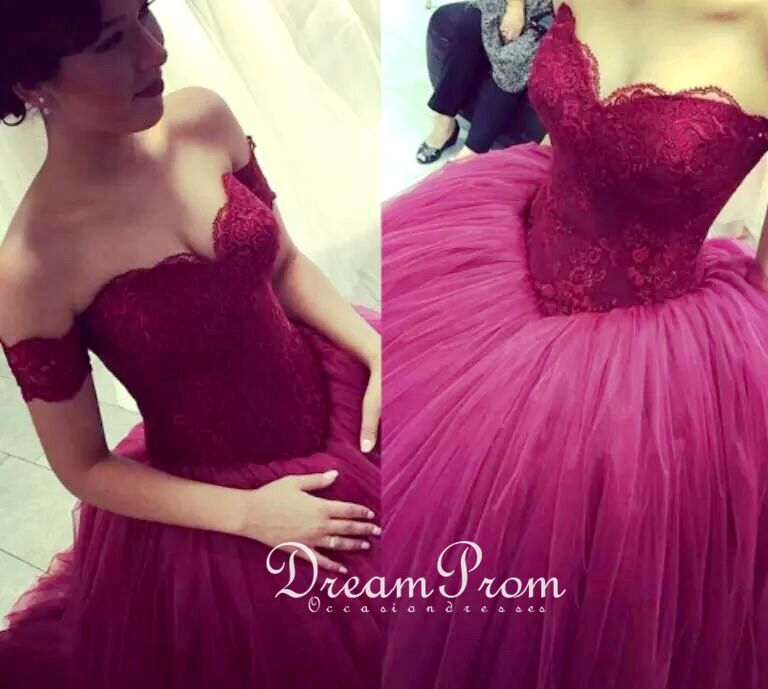 Sweetheart Wine Red A-line Lace Tulle Long Prom Dress,Evening Dress ...