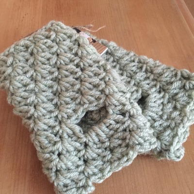Sage green fingerless gloves