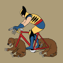 Wolverine riding bike with wolverine wheels, 5x5 print