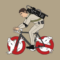 Ghostbuster riding bike with ghost wheels, 5x5 print