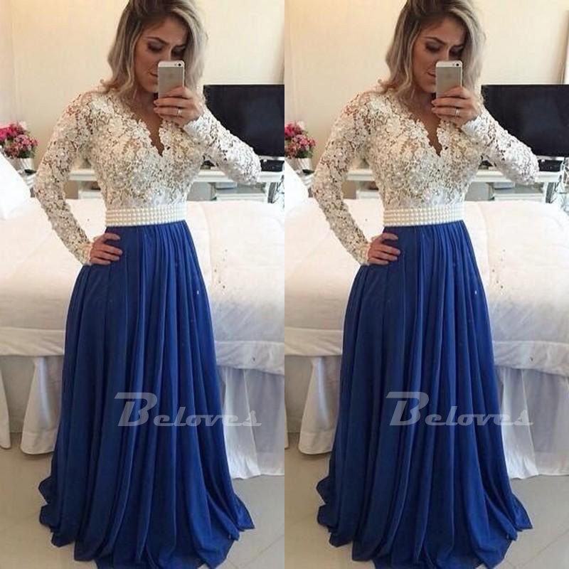 Blue / Ivory Long Sleeves Prom Dress With Lace Bodice And Sheer ...