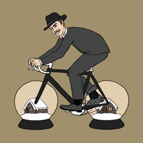 Citizen Kane riding bike with snow globe wheels, 5x5 print
