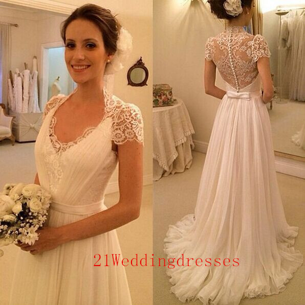 New Design White Long Wedding Dresses,Lace Wedding Dresses,Sweep ...