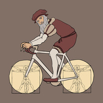 Leonardo Da Vinci riding bike with anatomy wheels, 5x5 print