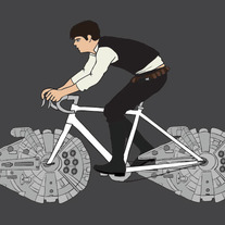Han Solo riding bike with millennium falcon wheels, 5x7 print