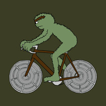 Oscar the grouch riding bike with trash can lid wheels, 5x5 print