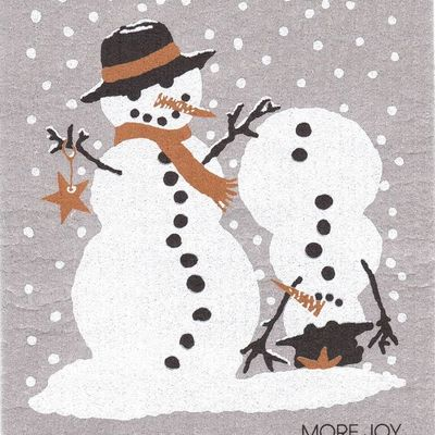 Snowmen, finnish dish towel (sponge cloth)