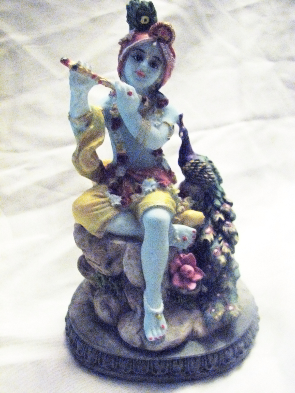 Lord Sri KRISHNA Krsna Divine Flute Peacock STATUE 5 ...