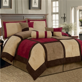 King Size 7 Piece Bed Bag Patchwork Comforter Set In Brown Burgundy Red Fairy Gifts And
