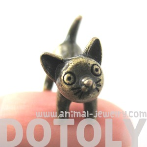 Adorable Kitty Cat Animal Stud Earrings in Bronze Fake Gauge Earrings