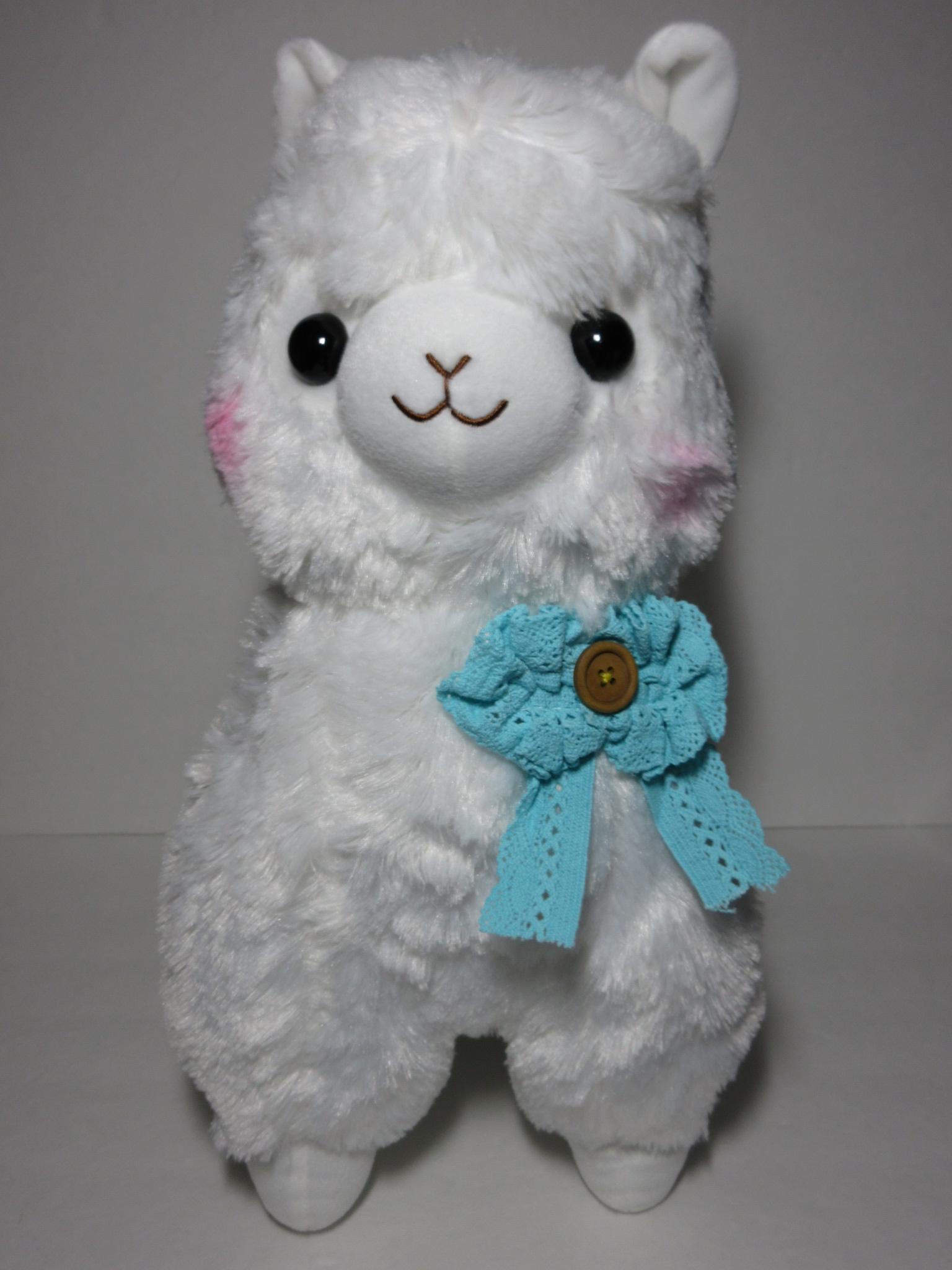 """""""Girly"""" Alpacasso White Alpaca w/ Blue Lacey Bow 45cm ..."""