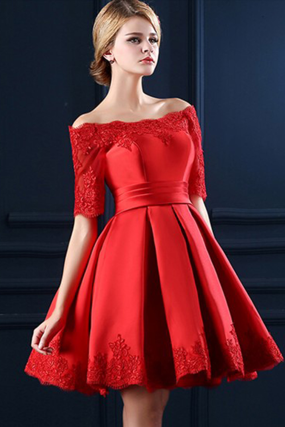 Boat Neckline Red Lace Short Prom Dresses,Homecoming Dresses ...
