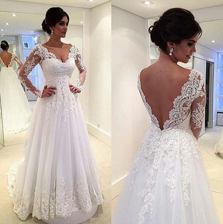 Long Sleeves White Lace Wedding Dresses V Neck Beach Wedding Dress Bridal Gowns from Dresscomeon