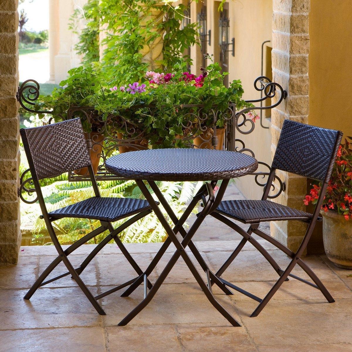 3 piece outdoor bistro patio furniture set in espresso