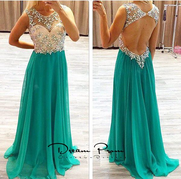 Green A Line Backless Beaded Long Prom Dressexquisite Formal