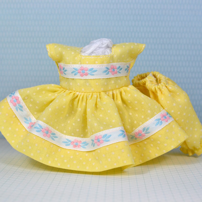 Special edition dress & panty set-yellow dotted swiss