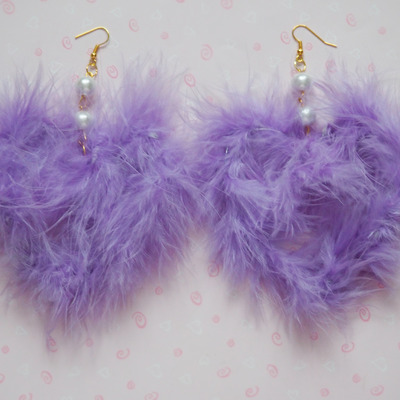 Big fuwa fuwa heart earrings