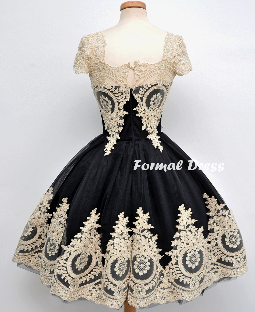 d16f957910 Retro Black Tulle Lace Short Prom Dresses
