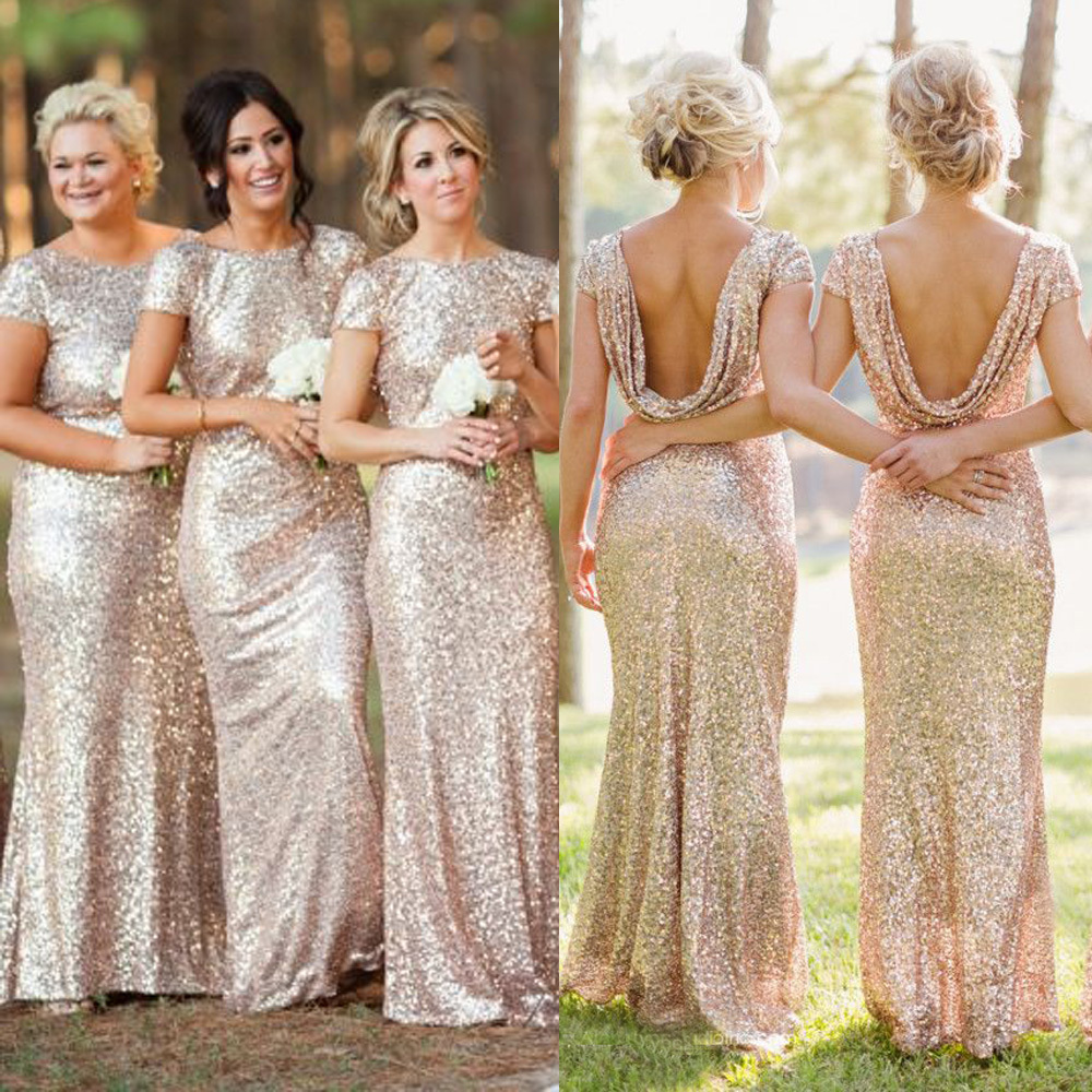 Sequin Shiny Open Back Bridesmaid Dresses,Long Bridesmaids Dresses