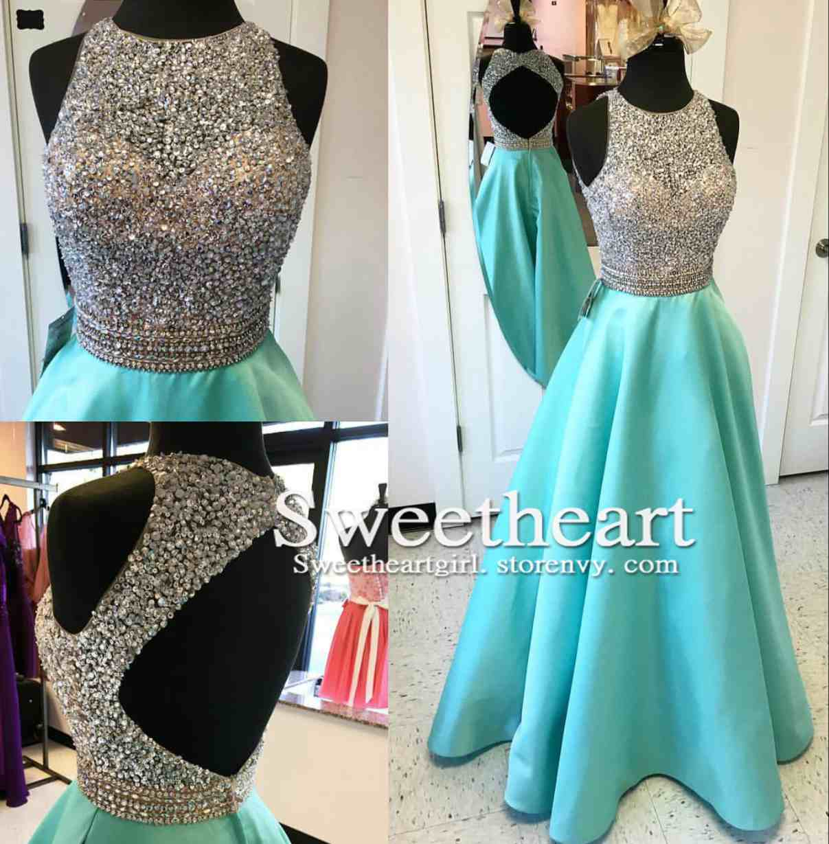 A-line Round Neck Sequin Backless Long Prom Dress, Evening Dress ...